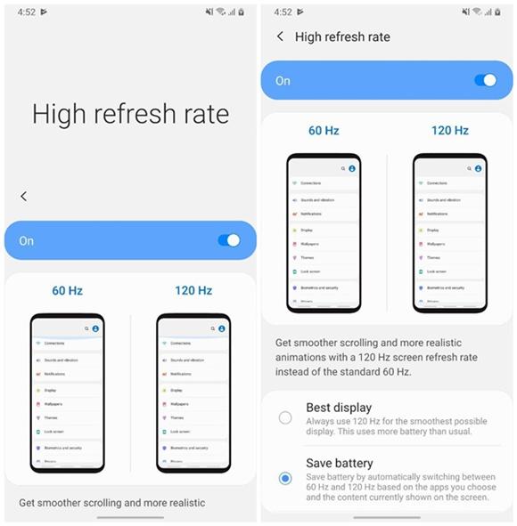 三星Galaxy S11将搭载120HZ高刷新率屏幕,ONE UI增加120hz切换选项