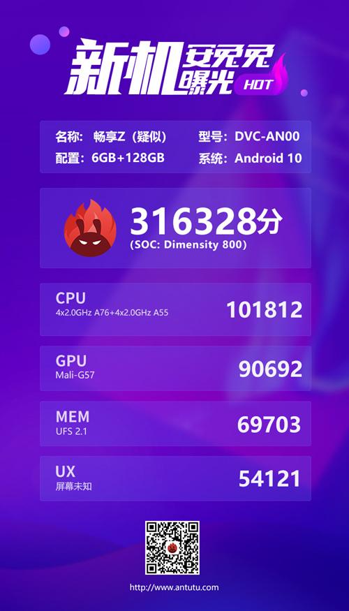 安兔兔曝光华为畅想Z 5G跑分:总分31.6万,天玑800处理器