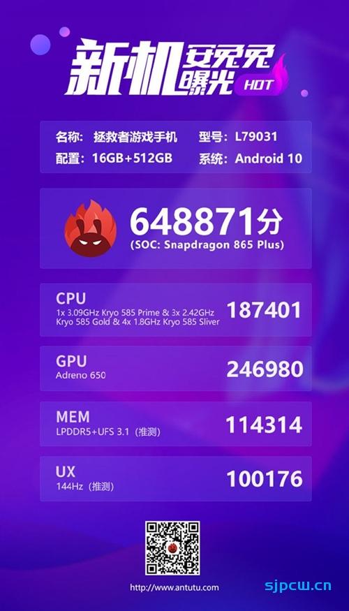 安兔兔公布联想拯救者游戏手机跑分:64.88万分,骁龙865 Plus+16GB内存
