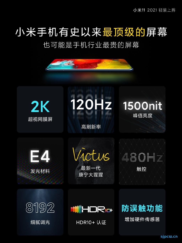 小米11 Pro屏幕参数曝光,跟小米11采用同一块屏幕