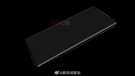 华为P50 Pro正面渲染图曝光:居中打孔 双曲面屏