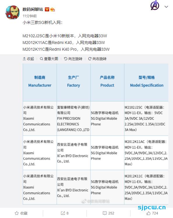 红米K40/K40 Pro/新款小米10已通过入网认证,标配33瓦充充电器